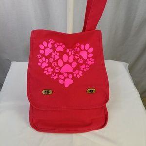 Handbags - Paw Prints Canvas Messenger Bag